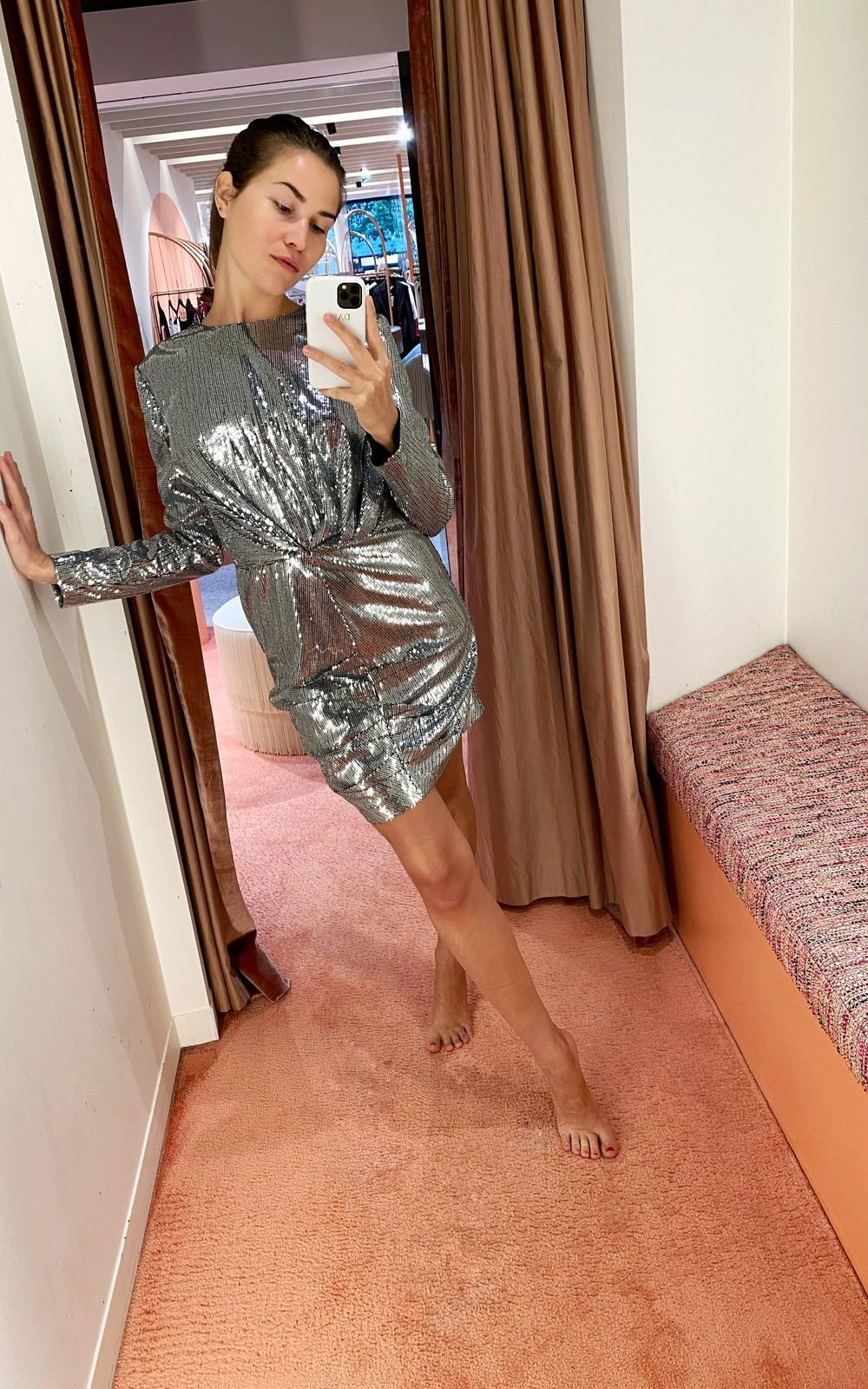 MSGM Silver sequin dress
