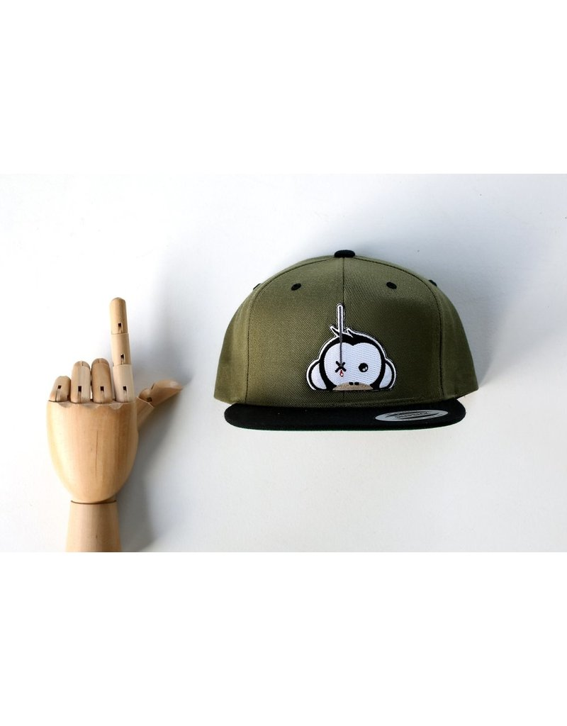 Monkey Climber Logo patch snapback Olive with black peak