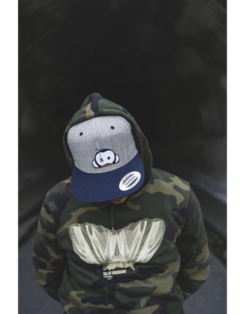 Monkey Climber Logo Patch snapback Grey with blue peak