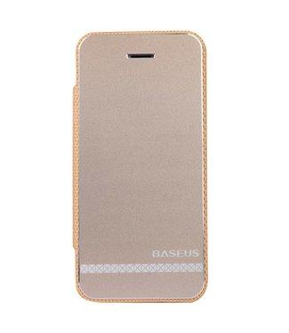 Champagne Gouden aluminium + PU Lederen hoesjes voor iPhone 5s 5