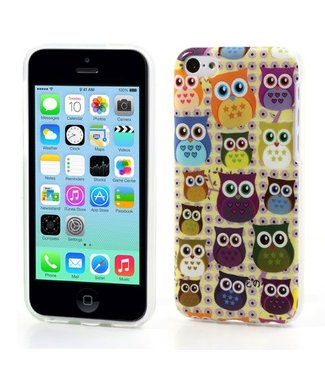 Uilenserie TPU Softcase iPhone 5c - Uiltjes Wit
