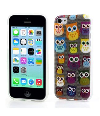 Uilenserie TPU Softcase iPhone 5c - Uiltjes Donker