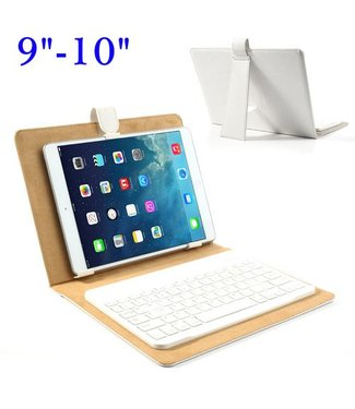 ZWC Universeel Bluetooth Keyboard + Leren Case Stand voor iPad - QWERTY