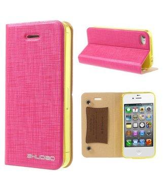 ZWC Hard leren hoesje - iPhone 4(s) - Bamboo Spinneweb structuur - Roze