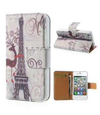 Eiffeltoren Leren Wallet hoesje iPhone 4 4s