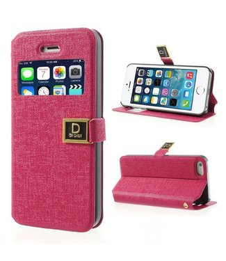 Icarer Kijkvenster case iPhone 5(s) / SE 2016 - roze