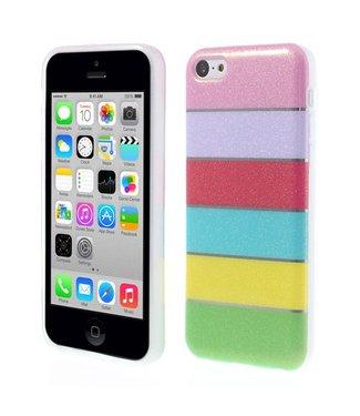 Kleurrijke Regenboog Glittery Powder TPU Gel Cover voor iPhone 5c - Roze