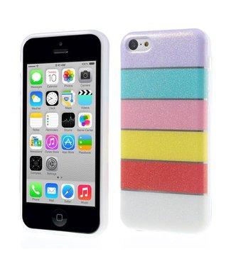 Kleurrijke Regenboog Glittery Powder TPU Gel Cover voor iPhone 5c - Paars