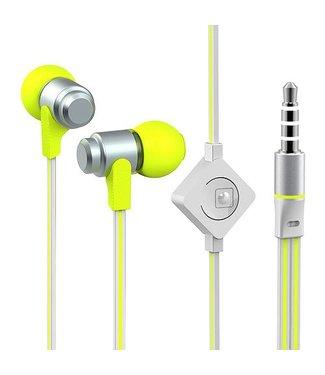Oordopjes Wallytech In-Ear 3.5mm + Microfoon - Zilver / Groen