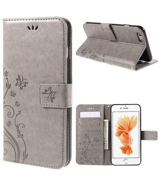 Uilenserie PU Leren Wallet iPhone 6(s) - Vlinder en Bloemprint- Grijs
