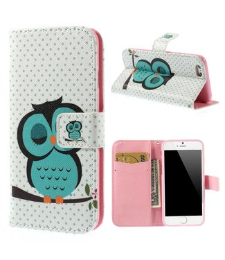 Uilenserie PU Leren Stand Wallet iPhone 6(s) - Wit- Uil