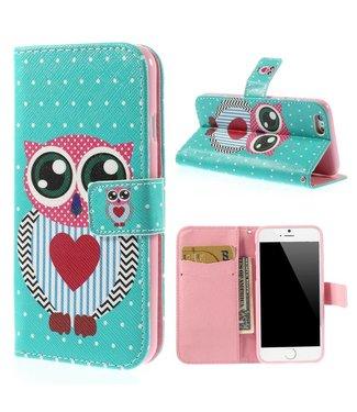 Uilenserie PU Leren Wallet iPhone 6(s) - Polka Dot Uil