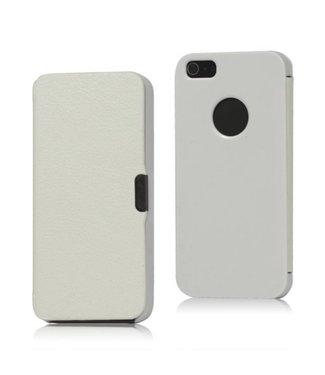 Icarer Leer en Kunststof Combo Flip Case voor iPhone 5 - Wit