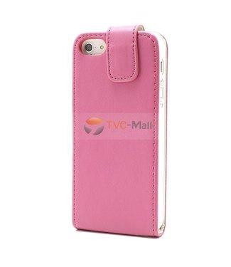 Icarer Verticale PU lederen flipcase voor iPhone 5 - Pink