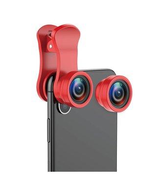 Baseus BASEUS 3-in-1 180 ° Fish-eye + 120 ° Groothoek + 15X Macro Lensclip voor smartphones - Rood