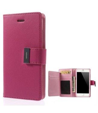 Goospery Goospery Luxe PU Leren Wallet iPhone 6(s) plus - Donker Roze