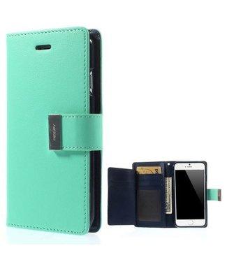 Goospery Goospery Luxe PU Leren Wallet iPhone 6(s) plus - Cyaan