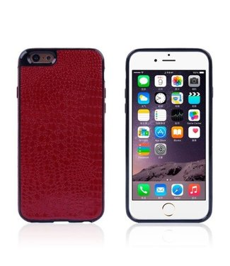 ZWC Crocodile TPU/PU Leren Softcase iPhone 6(s) plus - Wijnrood