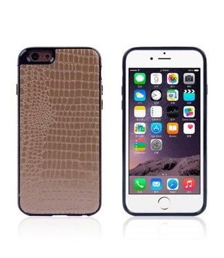 TVC Crocodile TPU/PU Leren Softcase iPhone 6(s) plus - Champagne