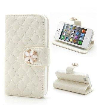 Grids Wallet Bling Leren hoesje voor iPhone 4S 4 Wit
