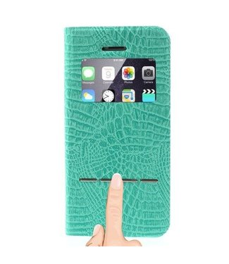 Icarer Kijkvenster case iphone 5 (2016) crocodile pu leder - groen