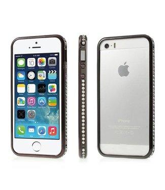 iPhone 5(s)/SE Luxe Diamanten Ingelegde Bumper - Zwart
