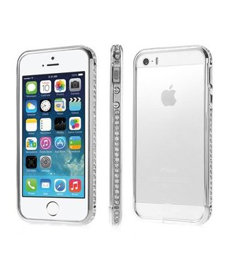 ZWC iPhone 5(s)/SE (2016) Luxe Diamanten Ingelegde Bumper - Zilver