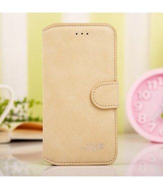 Golden Phoenix Golden Phoenix Split Leren Wallet iPhone 6(s) plus - Beige