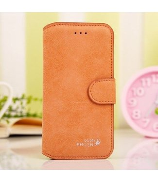 Golden Phoenix Golden Phoenix Split Leren Wallet iPhone 6(s) plus - Oranje
