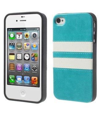 Crazy Horse Crazy horse softcase met pu leer bedekt voor iphone 4/4s - blauw