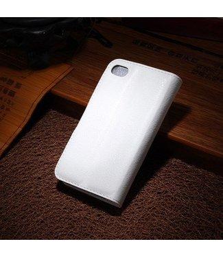 Litchi Litchi PU Leren Wallet iPhone 4/4S - Wit