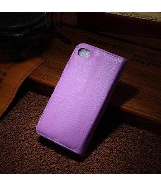 Litchi Litchi PU Leren Wallet iPhone 4/4S - Paars