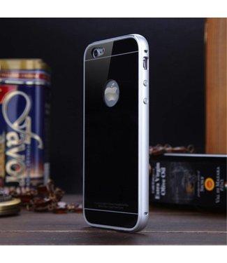Luphie Luphie Aluminium/Glas Hardcase iPhone 6(s) - Zwart/Zilver