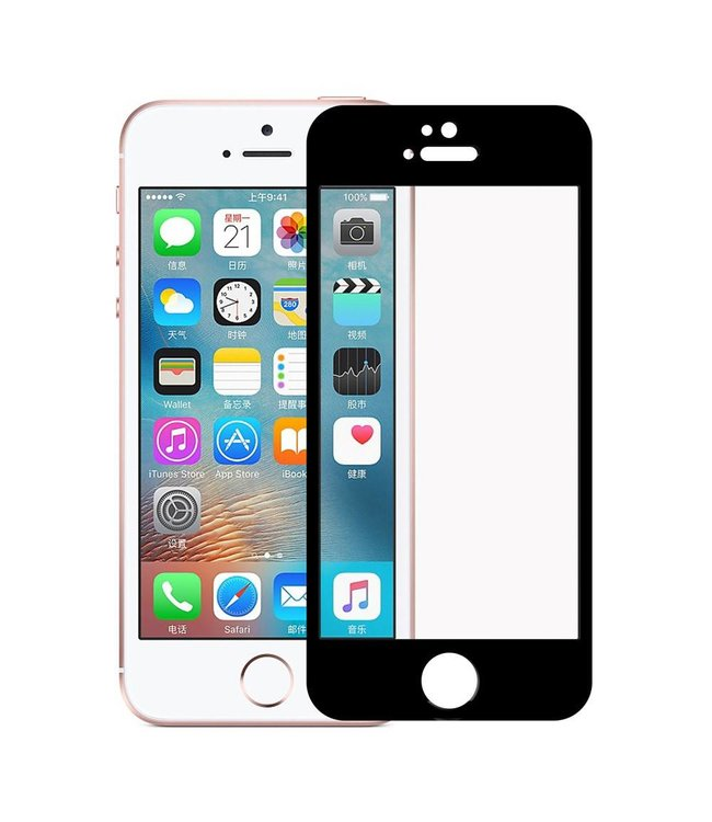 iPhone 5(s)/ 5c/ SE 0,3mm Edge 2 Edge Glas Screenprotector - Zwart
