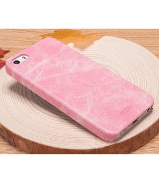 Mofi Mofi PU Leren Coating Hardcase iPhone 5(s)/SE - Roze