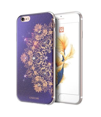 Casecube Casecube Bling TPU Softcase iPhone 6(s) - Blauwe Lotus