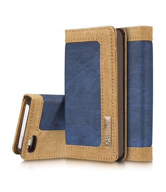 Caseme Caseme Canvas Leren Wallet iPhone 5(s)/SE - Blauw
