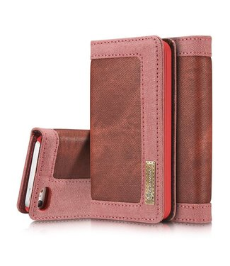 Caseme Caseme Canvas Leren Wallet iPhone 5(s)/SE - Wijnrood
