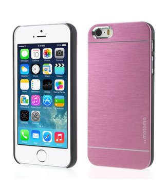 Motomo Motomo Aluminium Geborstelde Hardcase iPhone 5(s)/SE - Roze