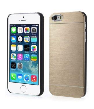 Motomo Motomo Aluminium Geborstelde Hardcase iPhone 5(s)/SE - Goud