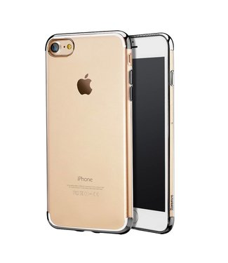 Baseus Baseus TPU Metallic Softcase iPhone 7/8 - Zwart Transparant