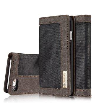Caseme Canvas Leren Wallet iPhone 7/8/SE 2020 - Zwart