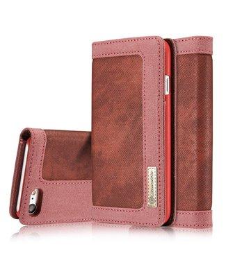 Caseme Caseme Canvas Leren Wallet iPhone 7/8 - Wijnrood