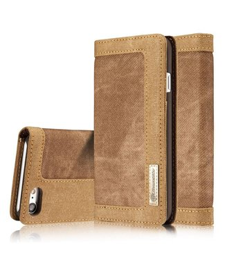 Caseme Caseme Canvas Leren Wallet iPhone 7/8 - Bruin