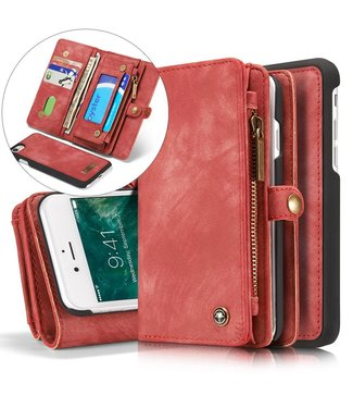 Caseme Caseme Leren Wallet iPhone 7/8 - Roze/Rood