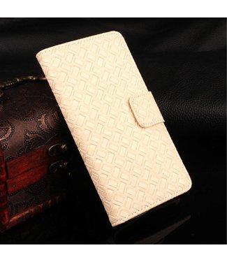 ZWC Geweven PU Leren Wallet iPhone 7/8/SE 2020 - Crème Wit