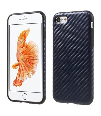 Carbon TPU/PU Leren Softcase iPhone 7/8 - Navy Blauw