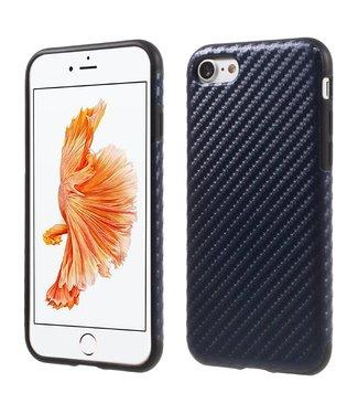 ZWC Carbon TPU/PU Leren Softcase iPhone 7/8 - Navy Blauw