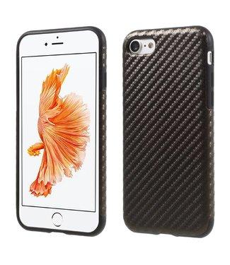 ZWC Carbon TPU/PU Leren Softcase iPhone 7/8 - Bruin