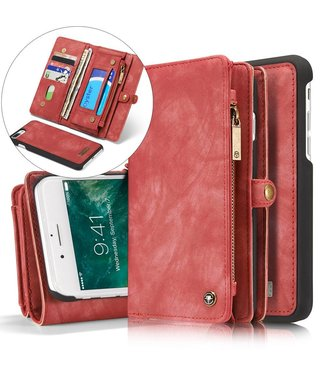 Caseme Caseme Leren Wallet iPhone 7/8 plus - Roze/Rood